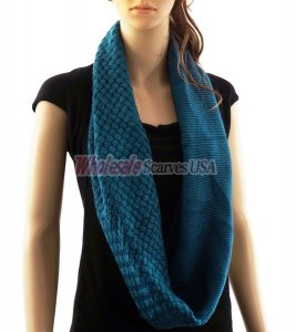 Knitted Pattern Infinity Scarf Teal