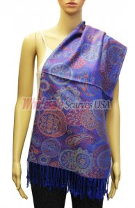 Paisley and Pattern Pashmina Royal Blue