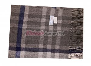Cashmere Feel Plaid Scarf Grey/Blue