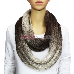 Infinity Infinity Burned Two Tone Knit Scarf Brown
