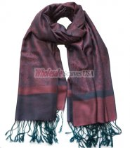 Paisley Jacquard Shawl Pale Violet Red w/ Green