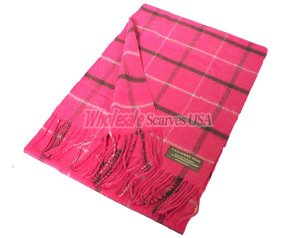 Cashmere Feel Plaid Scarf Pink