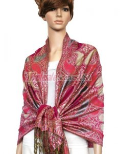 Metallic Pashmina Fuchsia Red