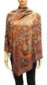 Wholesale Butterfly Design Pashmina Brown