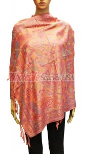Wholesale Butterfly Design Pashmina Coral