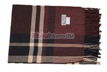 Cashmere Feel Plaid Scarf Brown #35-4