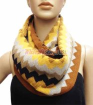 Zig Zag Infinity Knit Scarf Brown Grey Multi