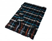 Woven Checker Scarf A52 Black/Blue