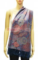 Paisley and Pattern Pashmina Blue