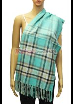 Plaid Scarf Aqua