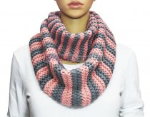 Infinity Striped Knit Scarf Pink / Grey