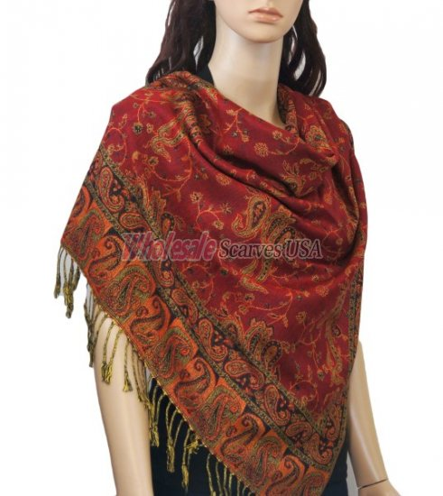 Small Paisley Scarf Red - Click Image to Close