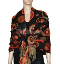 Circle Design Scarf Black w/ Red