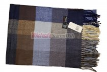 Cashmere Feel Checker Scarf Brown/Navy