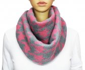 Winter Infinity Hound Tooth Scarf Pink / Grey