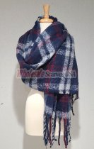 Cashmere Feel Plaid Shawl Navy