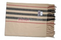 Cashmere Feel Stripe Scarf Tan