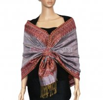 Jacquard Border Scarf Light Purple