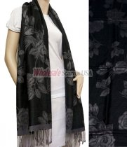 Rose Pashmina Grey w/ Black