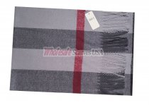Cashmere Feel Stripe Scarf Grey #W88-5