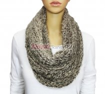 Infinity Mixed Loop Knit Scarf Brown