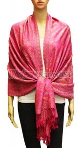 Wholesale Gaint Paisley Pashmina Hot Pink