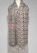 Leopard Print Scarf White/Brown