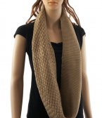Knitted Pattern Infinity Scarf Brown