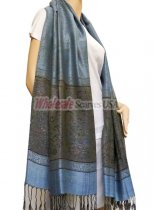 Paisley Lurex Pashmina Blue w/ Army Green