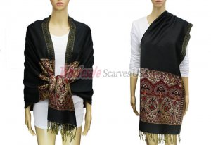 Pashmina Heart Pattern Black