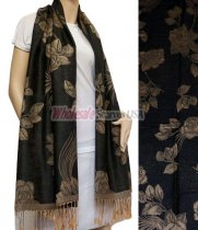 Rose Pashmina Tan w/ Black