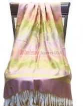 Paisley Striped Scarf Pink Green