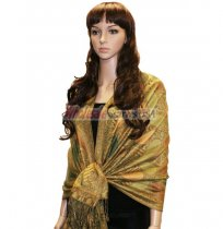 Beautiful Paisley Pashmina Gold