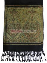 Wholesale Paisley Heart Pashmina Black