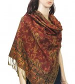 Small Paisley Scarf Rust Red