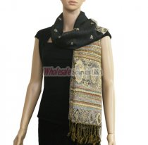 Paisley Stripe Pashmina Black/Tan