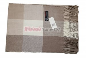 Cashmere Feel Checker Scarf Light Brown