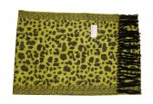 Cashmere Feel Leopard Scarf Lime/Black