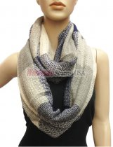 Wholesale Infinity Knit Scarf Beige/Navy