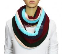 Infinity Section Multi Color Knit Scarf Blue multi