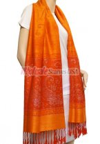 Paisley Lurex Pashmina Orange