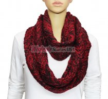 Infinity Two Color Mixed Knit Scarf Red