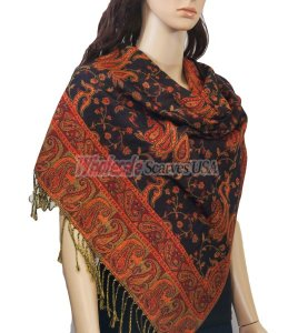 Small Paisley Scarf Black/Red