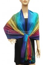 Pashmina Colorful Paisley Blue/Yellow