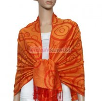 Soft Circle Pashmina Red w/ Orange