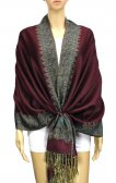 Jacquard Border Scarf Dark Burgundy