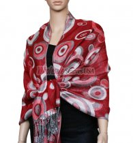 Circle Design Scarf Red w/ White