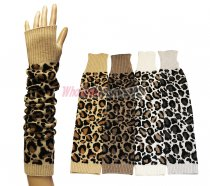 Winter Long Fingerless Leopard print Gloves 1 DZ, Asst. Color