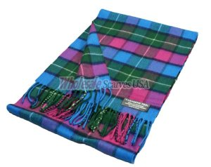 Cashmere Feel Plaid Scarf Blue/Green