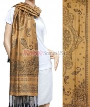 Simple Paisley Shawl Golden Brown